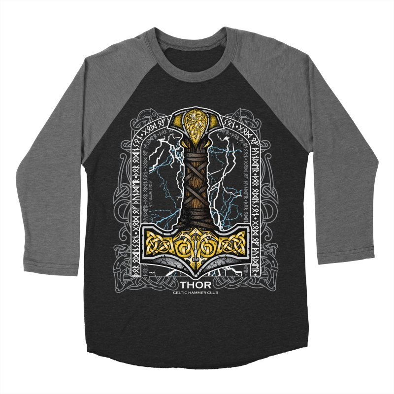 Thor Odinson, God of Thunder (Full Color) Men's Baseball Triblend Longsleeve T-Shirt by Celtic Hammer Club