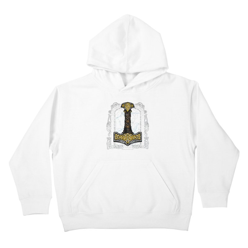 Thor Odinson, God of Thunder (Full Color) Kids Pullover Hoody by Celtic Hammer Club