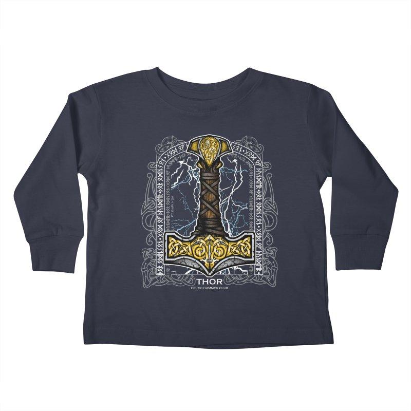 Thor Odinson, God of Thunder (Full Color) Kids Toddler Longsleeve T-Shirt by Celtic Hammer Club Apparel