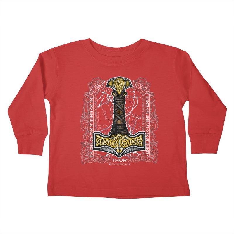 Thor Odinson, God of Thunder (Full Color) Kids Toddler Longsleeve T-Shirt by Celtic Hammer Club