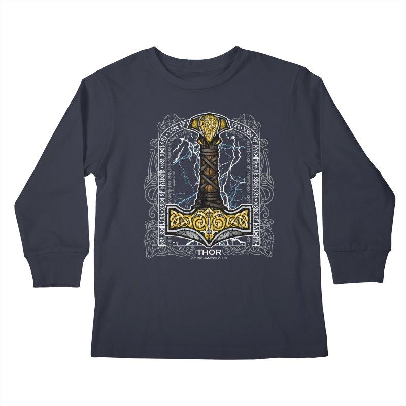 Thor Odinson, God of Thunder (Full Color) Kids Longsleeve T-Shirt by Celtic Hammer Club