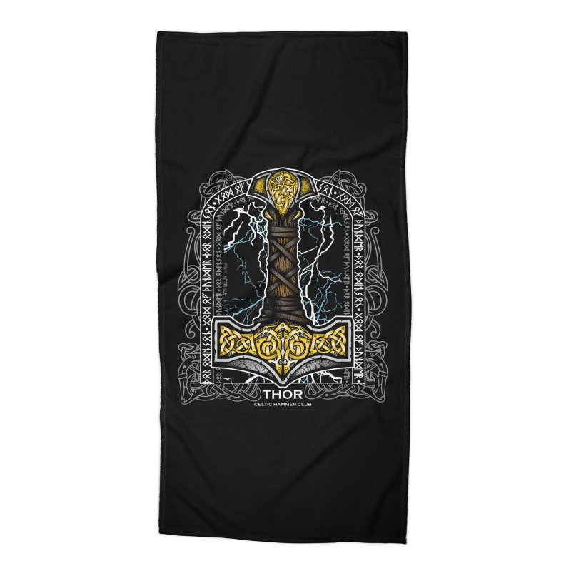 Thor Odinson, God of Thunder (Full Color) Accessories Beach Towel by Celtic Hammer Club