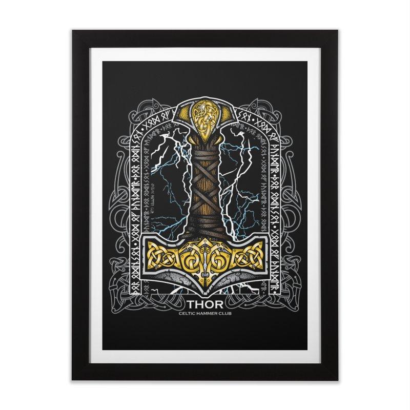 Thor Odinson, God of Thunder (Full Color) Home Framed Fine Art Print by Celtic Hammer Club Apparel