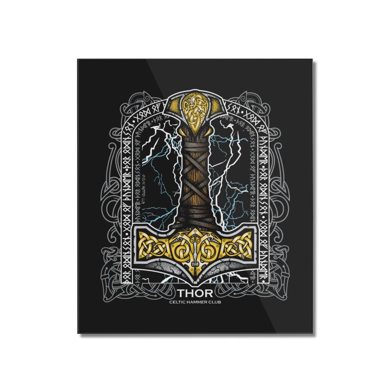 Thor Odinson, God of Thunder (Full Color) Home Mounted Acrylic Print by Celtic Hammer Club Apparel