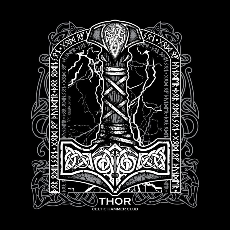 Thor Odinson, God of Thunder (Grayscale) Kids Baby Zip-Up Hoody by Celtic Hammer Club