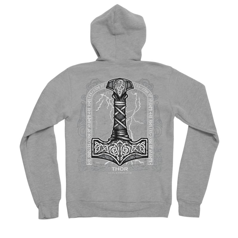 Thor Odinson, God of Thunder (Grayscale) Men's Sponge Fleece Zip-Up Hoody by Celtic Hammer Club Apparel
