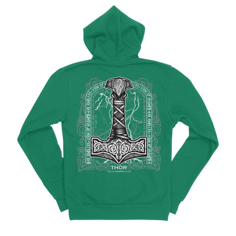 Thor Odinson, God of Thunder (Grayscale) Men's Sponge Fleece Zip-Up Hoody by Celtic Hammer Club