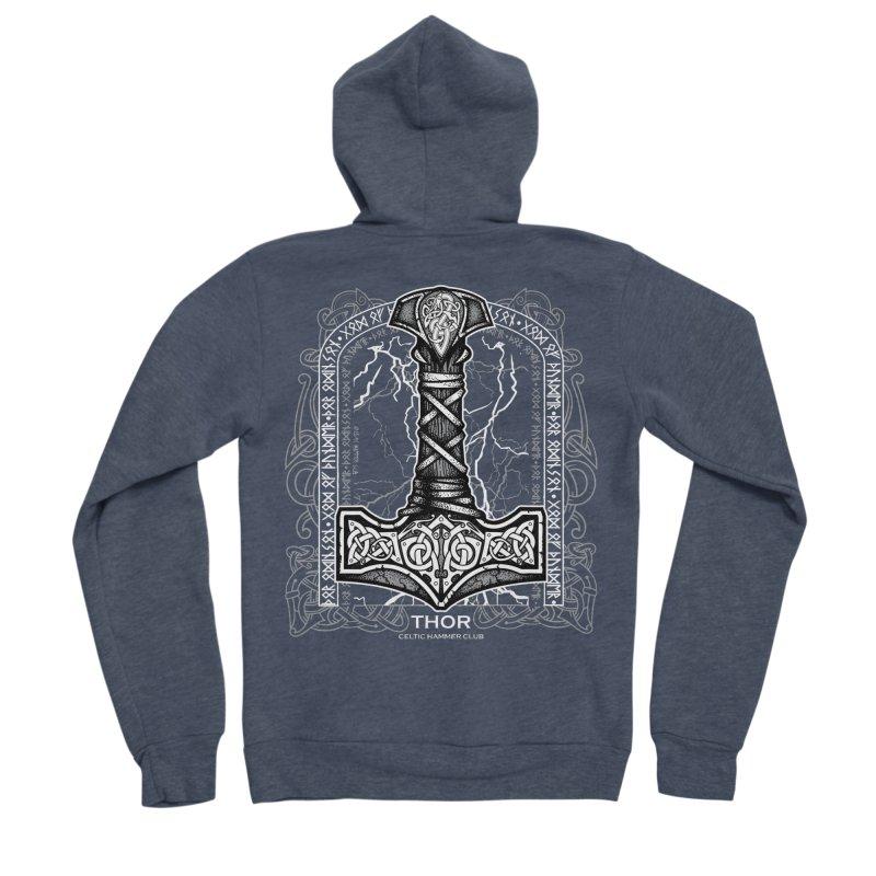 Thor Odinson, God of Thunder (Grayscale) Women's Sponge Fleece Zip-Up Hoody by Celtic Hammer Club Apparel