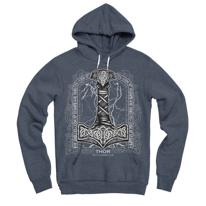 Thor Odinson, God of Thunder (Grayscale) Women's Sponge Fleece Pullover Hoody by Celtic Hammer Club Apparel