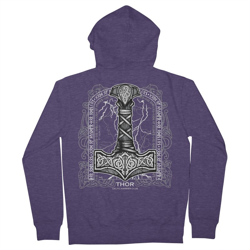 Thor Odinson, God of Thunder (Grayscale) Men's French Terry Zip-Up Hoody by Celtic Hammer Club Apparel