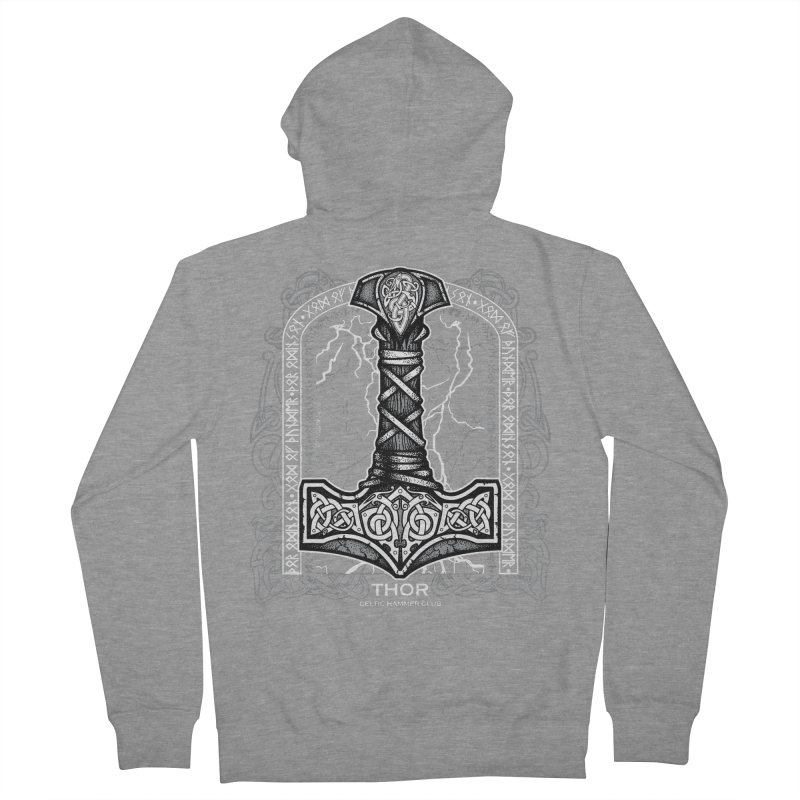 Thor Odinson, God of Thunder (Grayscale) Men's French Terry Zip-Up Hoody by Celtic Hammer Club