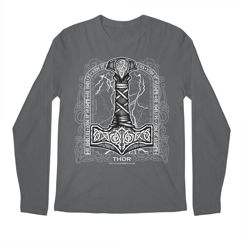 Thor Odinson, God of Thunder (Grayscale) Men's Longsleeve T-Shirt by Celtic Hammer Club