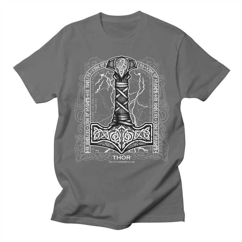 Thor Odinson, God of Thunder (Grayscale) Men's T-Shirt by Celtic Hammer Club