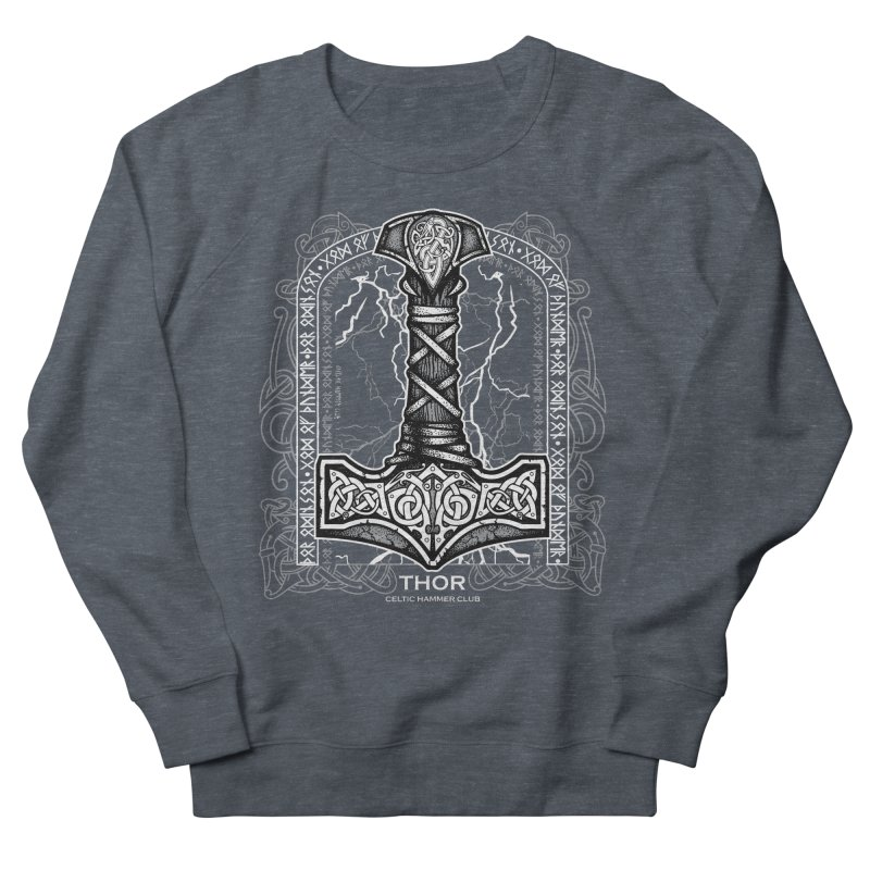 Thor Odinson, God of Thunder (Grayscale) Women's French Terry Sweatshirt by Celtic Hammer Club
