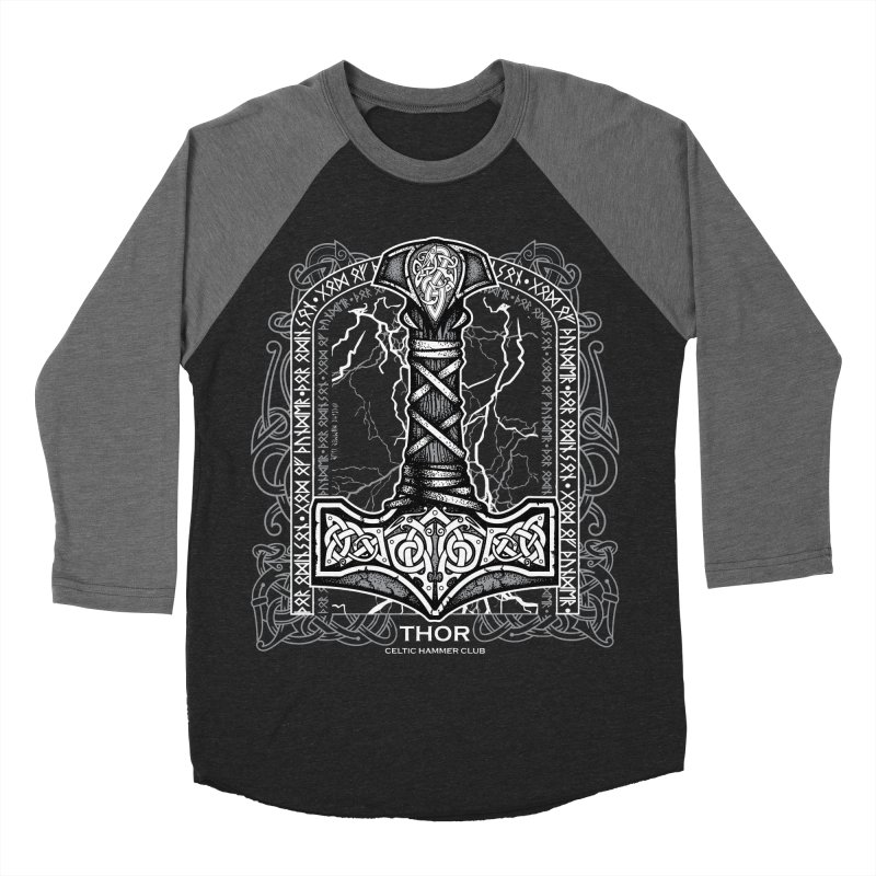 Thor Odinson, God of Thunder (Grayscale) Men's Baseball Triblend Longsleeve T-Shirt by Celtic Hammer Club