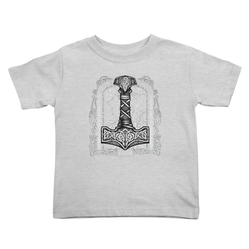 Thor Odinson, God of Thunder (Grayscale) Kids Toddler T-Shirt by Celtic Hammer Club Apparel