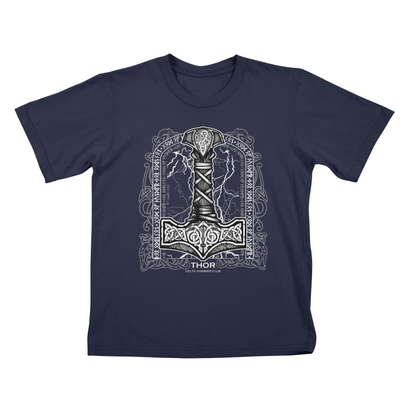 Thor Odinson, God of Thunder (Grayscale) Kids T-Shirt by Celtic Hammer Club