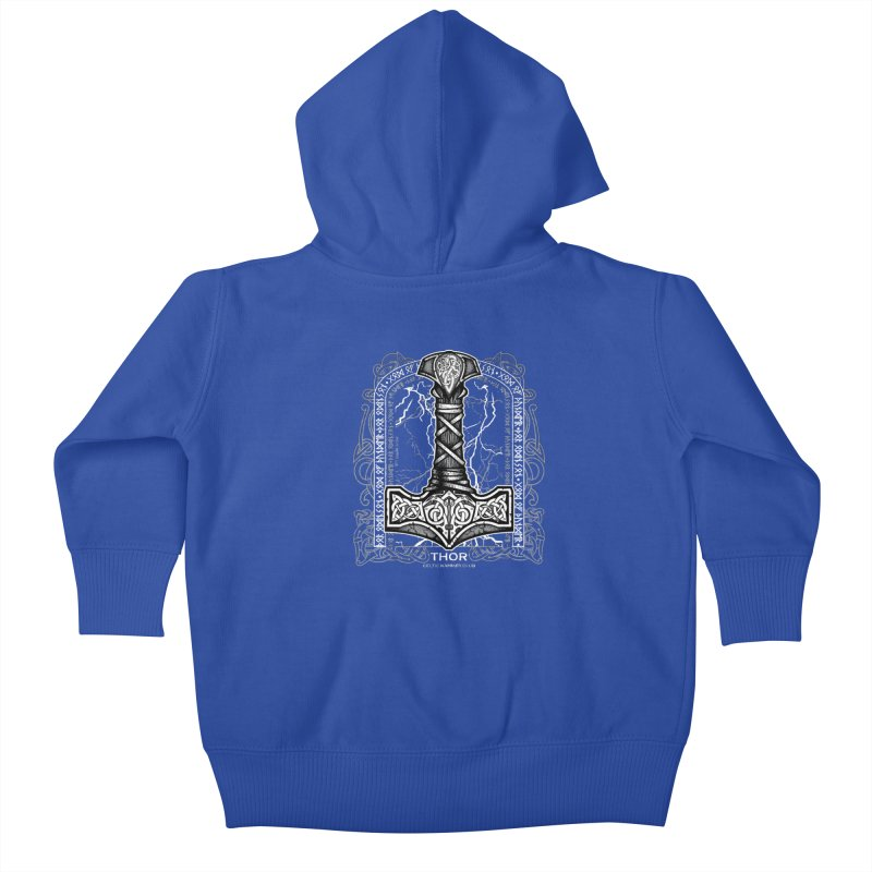 Thor Odinson, God of Thunder (Grayscale) Kids Baby Zip-Up Hoody by Celtic Hammer Club Apparel