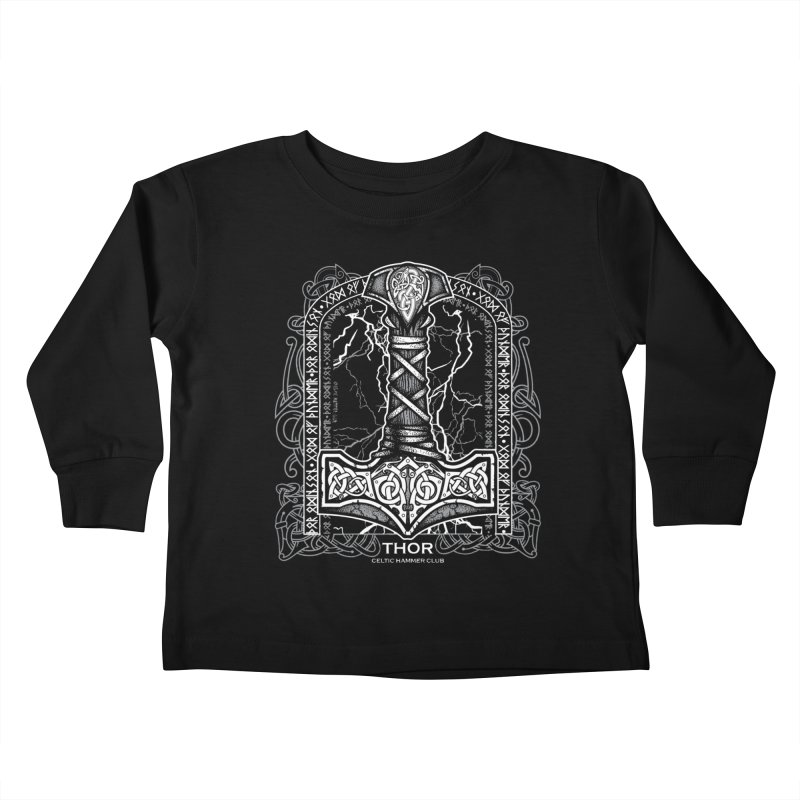 Thor Odinson, God of Thunder (Grayscale) Kids Toddler Longsleeve T-Shirt by Celtic Hammer Club Apparel