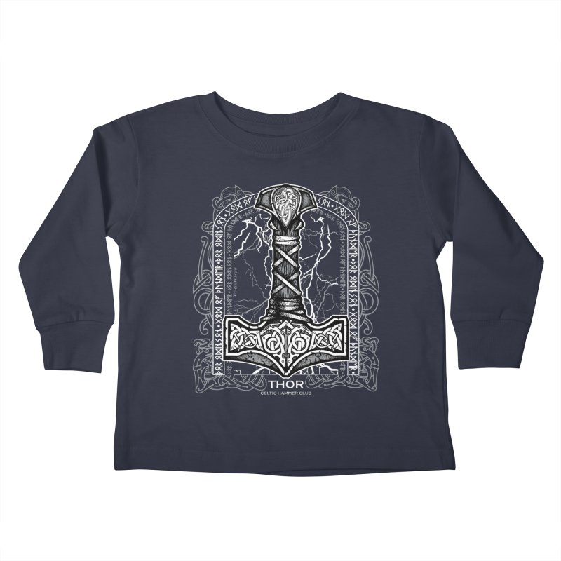 Thor Odinson, God of Thunder (Grayscale) Kids Toddler Longsleeve T-Shirt by Celtic Hammer Club