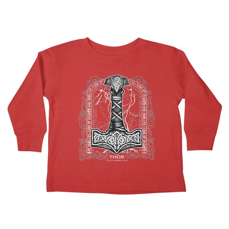 Thor Odinson, God of Thunder (Grayscale) Kids Toddler Longsleeve T-Shirt by Celtic Hammer Club