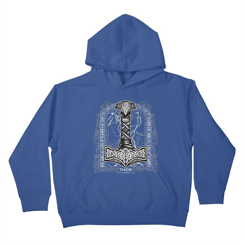 Thor Odinson, God of Thunder (Grayscale) Kids Pullover Hoody by Celtic Hammer Club