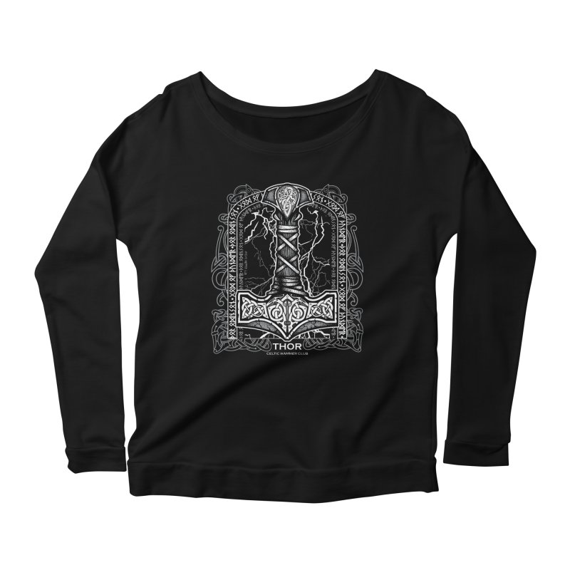 Thor Odinson, God of Thunder (Grayscale) Women's Scoop Neck Longsleeve T-Shirt by Celtic Hammer Club Apparel