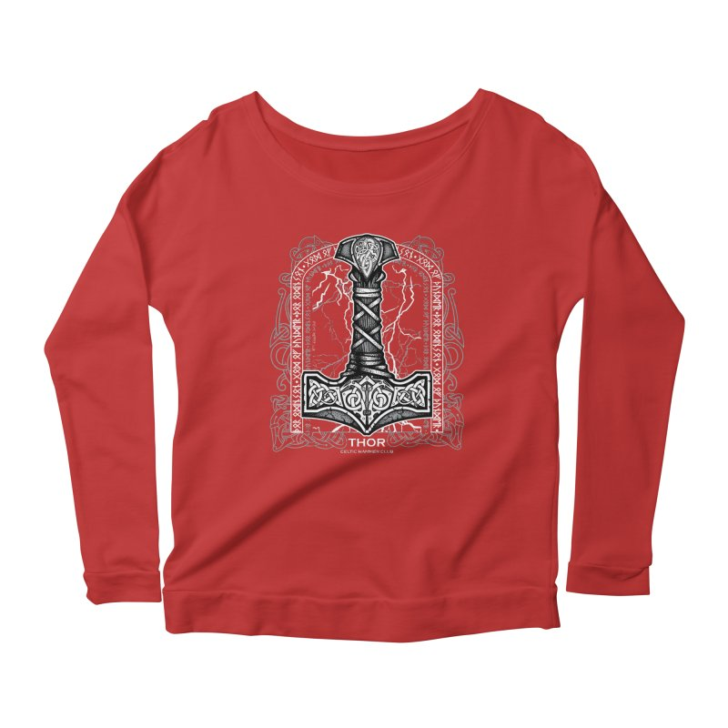 Thor Odinson, God of Thunder (Grayscale) Women's Scoop Neck Longsleeve T-Shirt by Celtic Hammer Club