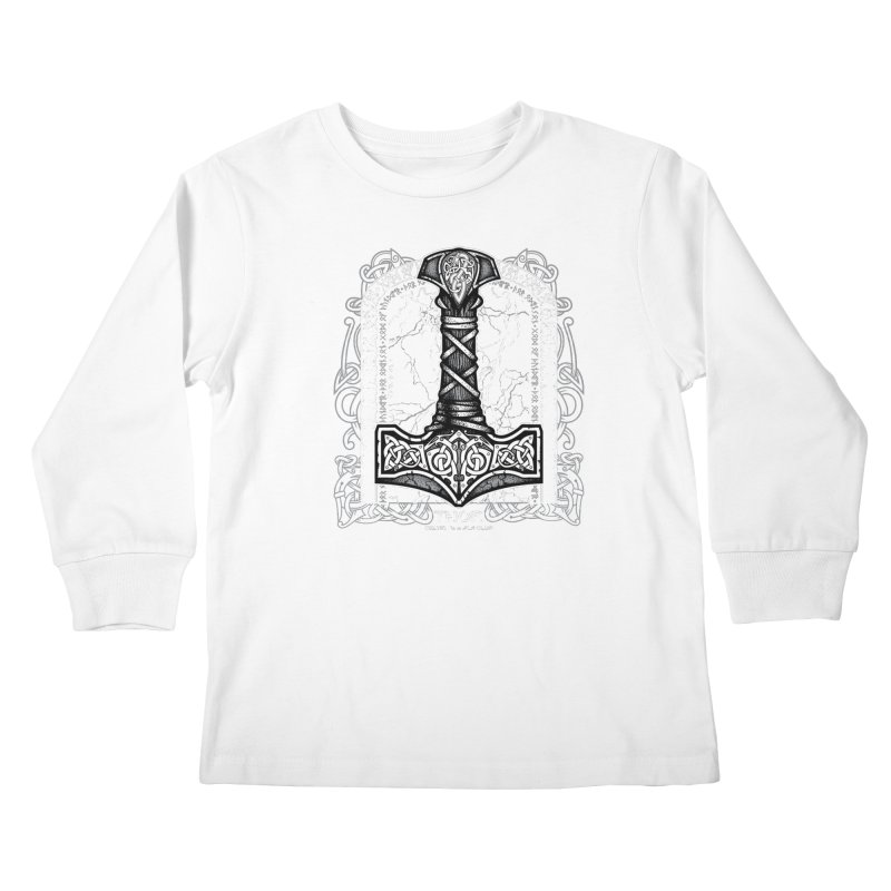 Thor Odinson, God of Thunder (Grayscale) Kids Longsleeve T-Shirt by Celtic Hammer Club Apparel