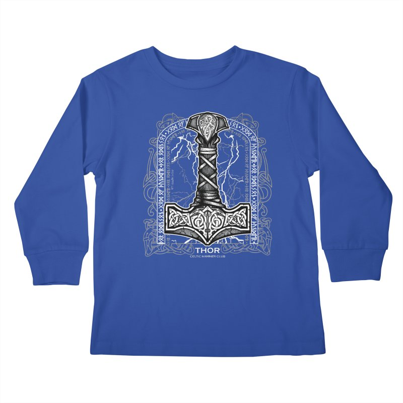 Thor Odinson, God of Thunder (Grayscale) Kids Longsleeve T-Shirt by Celtic Hammer Club