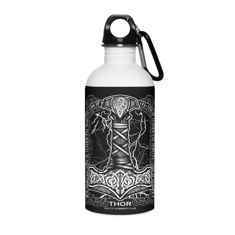 Thor Odinson, God of Thunder (Grayscale) Accessories Water Bottle by Celtic Hammer Club Apparel