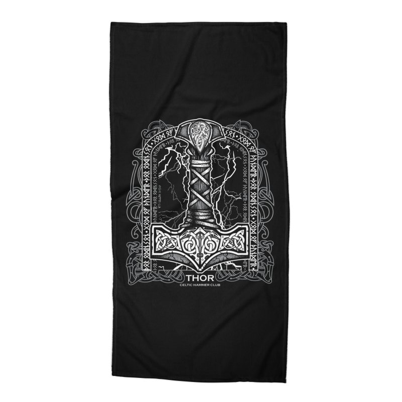 Thor Odinson, God of Thunder (Grayscale) Accessories Beach Towel by Celtic Hammer Club Apparel