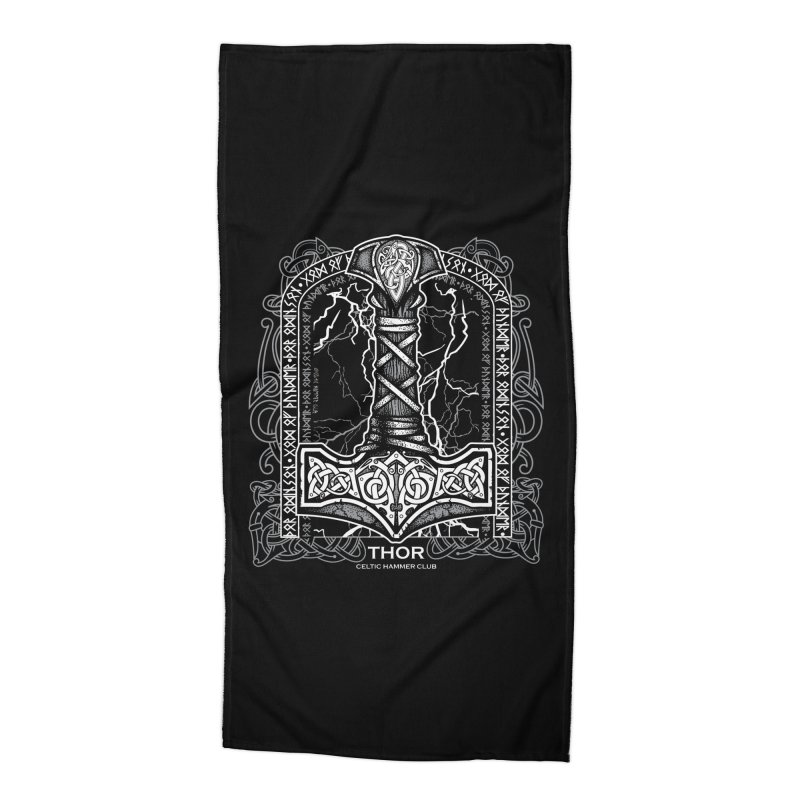 Thor Odinson, God of Thunder (Grayscale) Accessories Beach Towel by Celtic Hammer Club