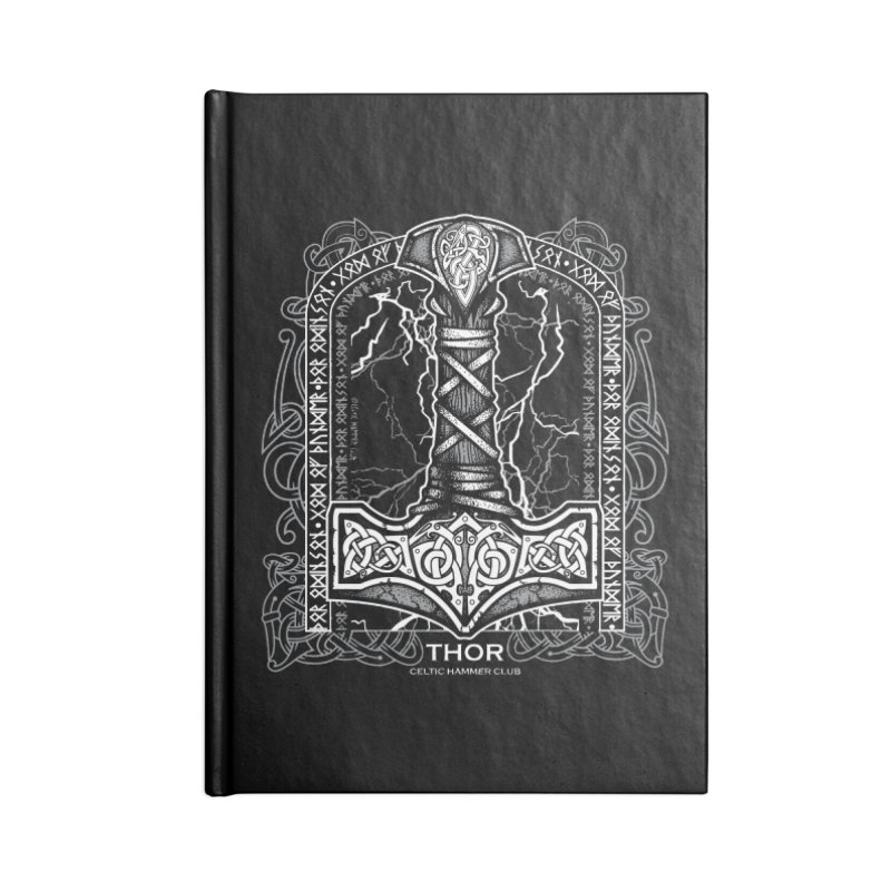 Thor Odinson, God of Thunder (Grayscale) Accessories Blank Journal Notebook by Celtic Hammer Club