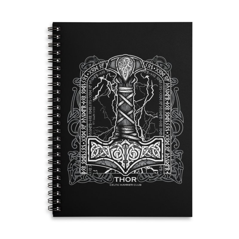 Thor Odinson, God of Thunder (Grayscale) Accessories Lined Spiral Notebook by Celtic Hammer Club