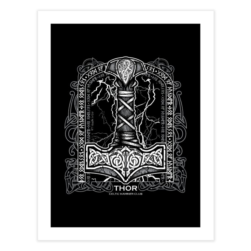 Thor Odinson, God of Thunder (Grayscale) Home Fine Art Print by Celtic Hammer Club
