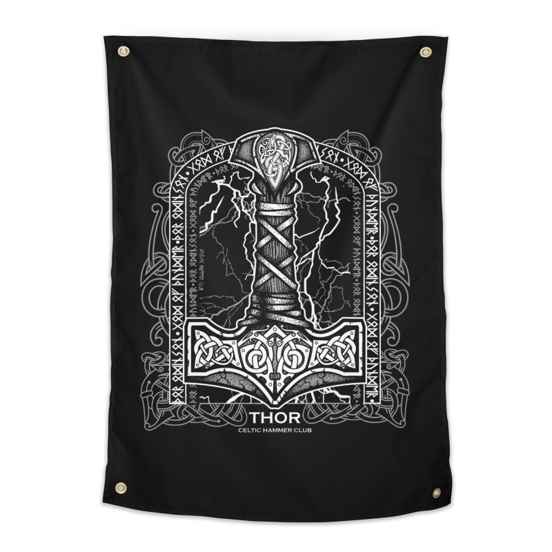 Thor Odinson, God of Thunder (Grayscale) Home Tapestry by Celtic Hammer Club