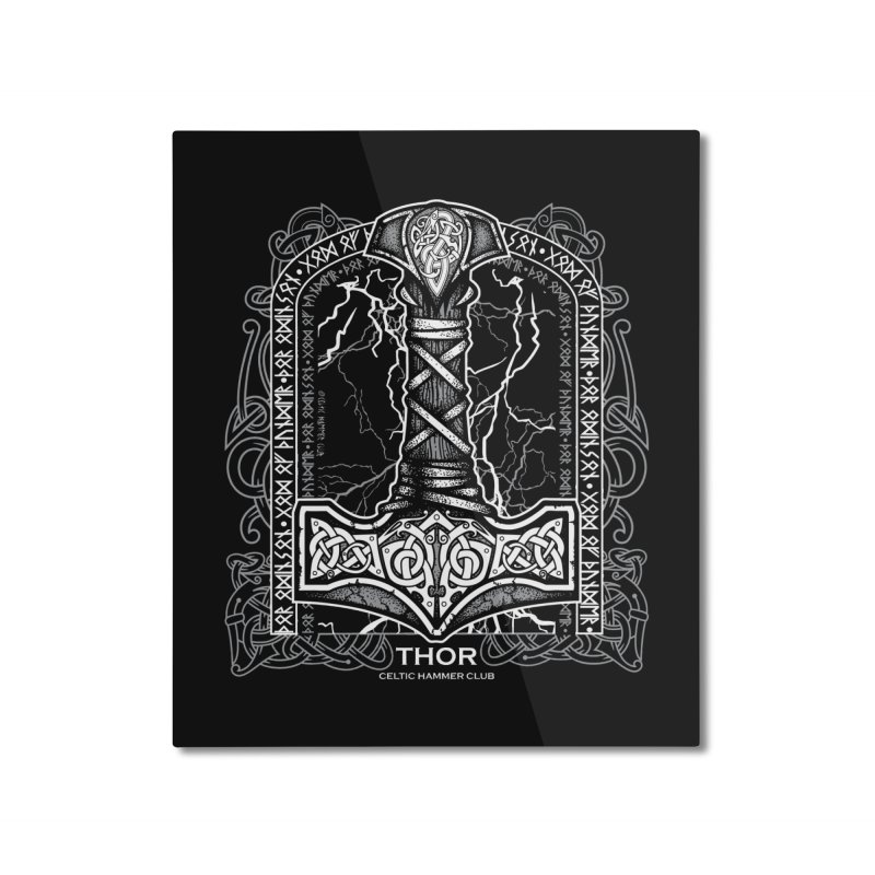 Thor Odinson, God of Thunder (Grayscale) Home Mounted Aluminum Print by Celtic Hammer Club