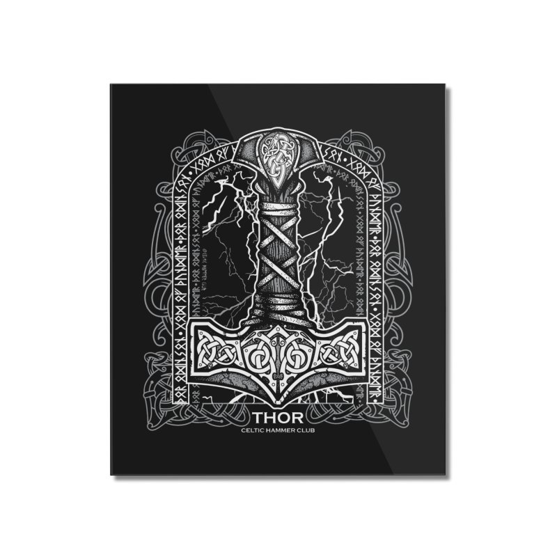 Thor Odinson, God of Thunder (Grayscale) Home Mounted Acrylic Print by Celtic Hammer Club Apparel
