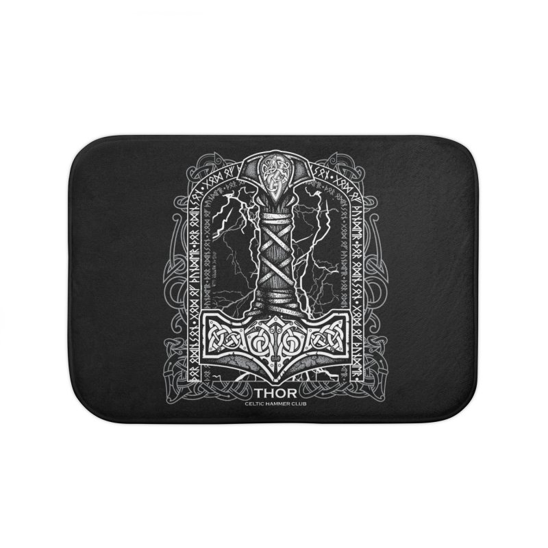 Thor Odinson, God of Thunder (Grayscale) Home Bath Mat by Celtic Hammer Club