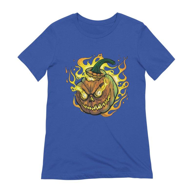 Possessed Jack O' Lantern Women's Extra Soft T-Shirt by Celtic Hammer Club Apparel