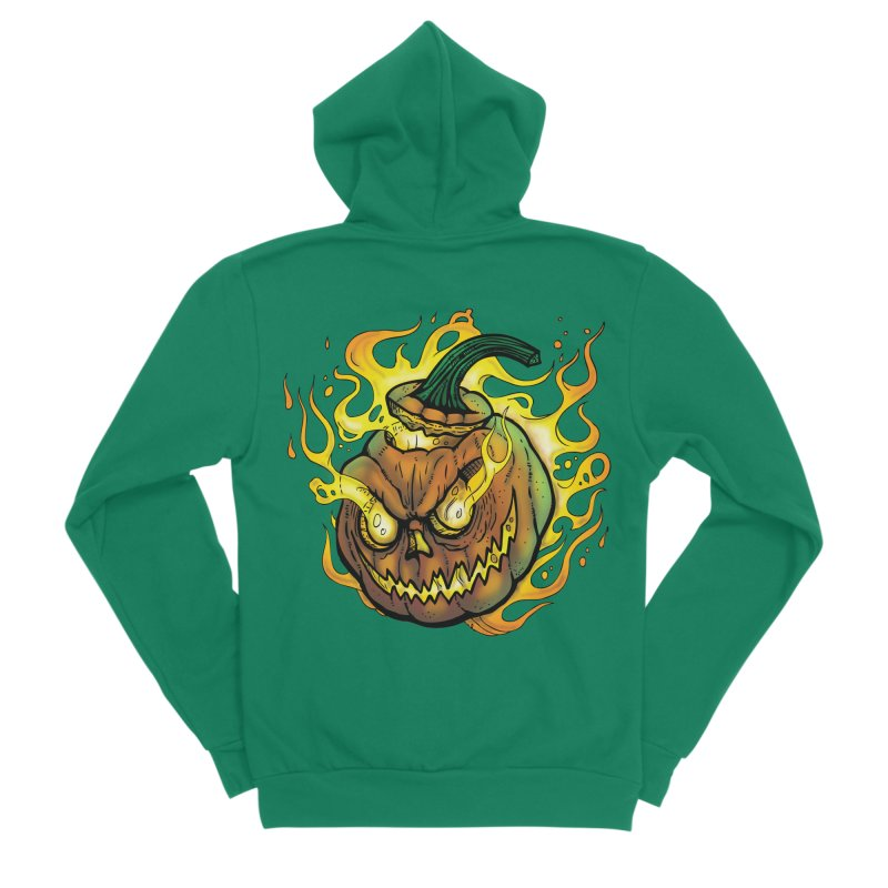 Possessed Jack O' Lantern Men's Sponge Fleece Zip-Up Hoody by Celtic Hammer Club Apparel