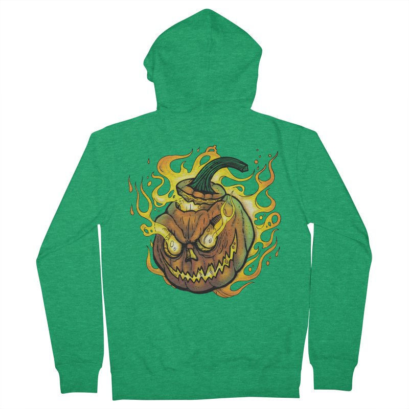 Possessed Jack O' Lantern Women's French Terry Zip-Up Hoody by Celtic Hammer Club