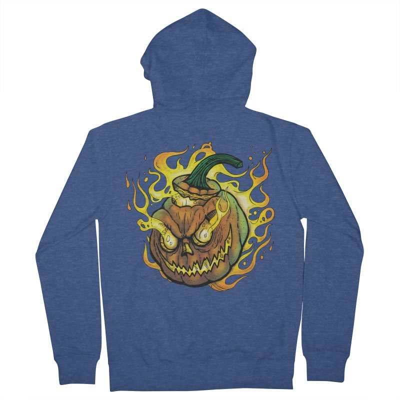 Possessed Jack O' Lantern Men's French Terry Zip-Up Hoody by Celtic Hammer Club