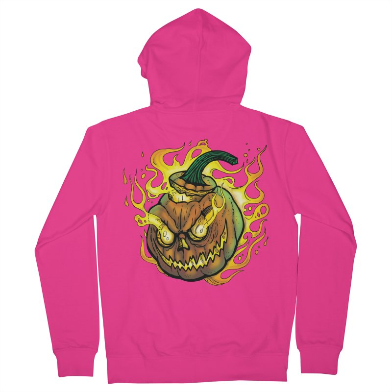 Possessed Jack O' Lantern Men's French Terry Zip-Up Hoody by Celtic Hammer Club Apparel