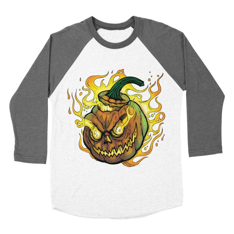Possessed Jack O' Lantern Women's Baseball Triblend Longsleeve T-Shirt by Celtic Hammer Club