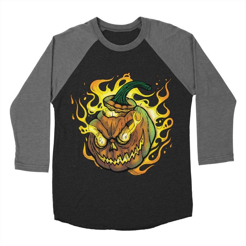 Possessed Jack O' Lantern Men's Baseball Triblend Longsleeve T-Shirt by Celtic Hammer Club