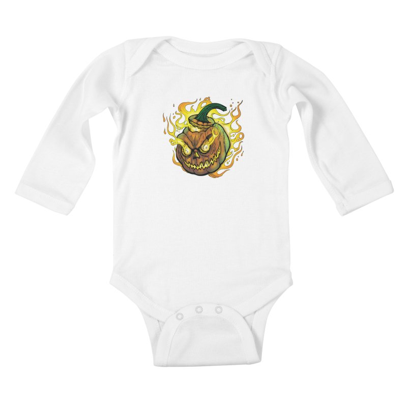 Possessed Jack O' Lantern Kids Baby Longsleeve Bodysuit by Celtic Hammer Club