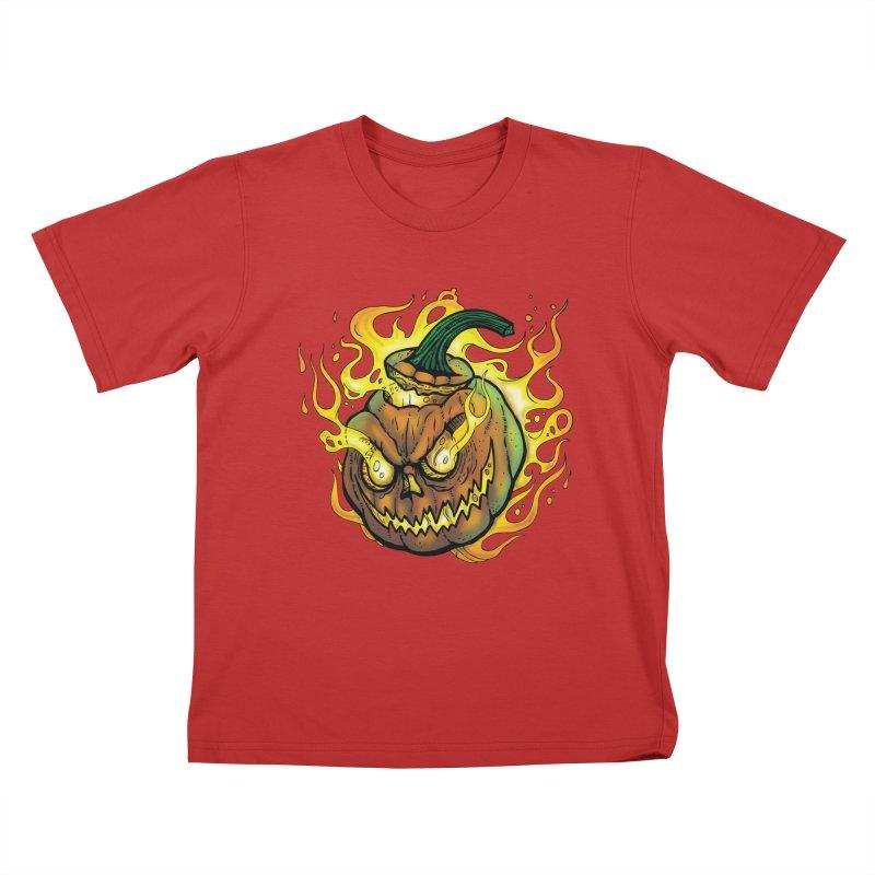 Possessed Jack O' Lantern Kids T-Shirt by Celtic Hammer Club
