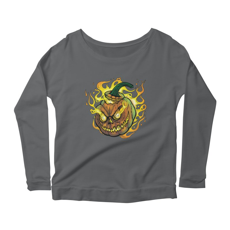 Possessed Jack O' Lantern Women's Scoop Neck Longsleeve T-Shirt by Celtic Hammer Club